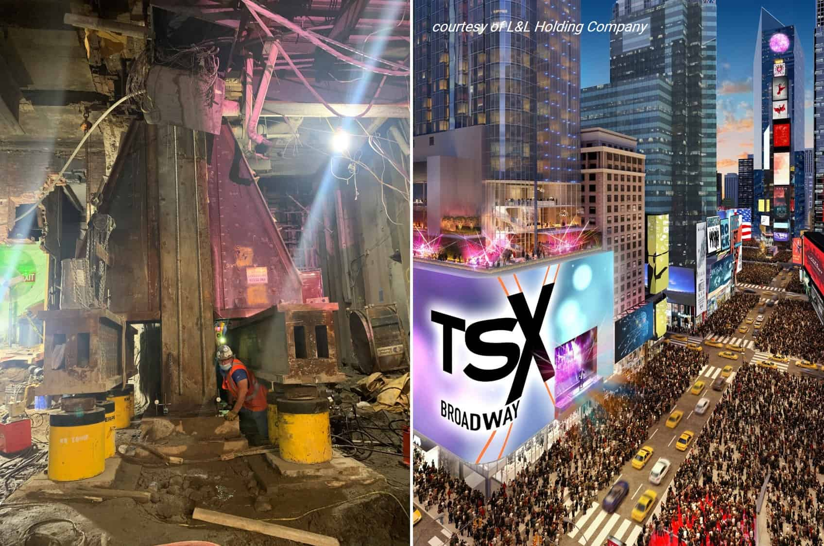 Jacking Super Columns at TSX Broadway